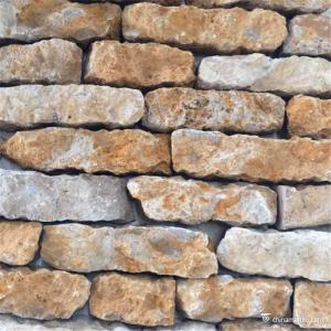 China Quartzite Random Loose Stacked Stone Brick Style Brown Color Skidproof on sale