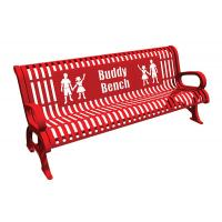 China Red Steel Cast Aluminium Garden Bench , Metal Buddy Bench For Schools on sale