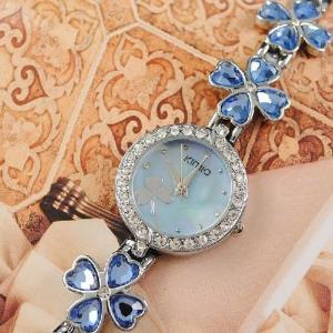 China NEW Clover 3A Crystal Fashion Quartz Woman Bracelet Ladies Watch Party Candy Blue on sale
