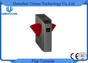 China Double Moter Flap Barrier Gate Acrylic Counter Turnstiles With RFID Card Reader on sale