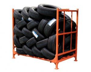 China Anti - Skid Surface Foldable Tire Rack Multi Lensed Bending Structure on sale