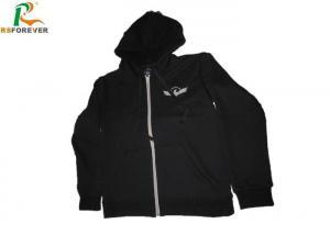 China Fleece 60 Cotton 40 Polyester Hoodie , Black Custom Embroidered Sweatshirts on sale