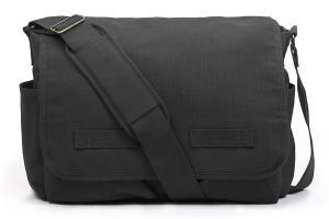 China Black Travel Messenger Bag Mens Canvas Satchel Bags W 17.5 X H 12 X D 5 on sale