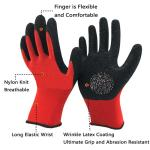 Comfortable 13 Gauge Latex Coated String Knit Gloves Elastic Cuff For Construction