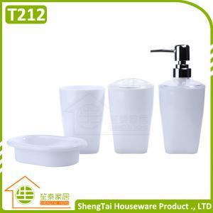 China Salle de bains en plastique de PCs bon marché des prix 4 réglée avec le culbuteur de tasse de brosse à dents de porte-savon de distributeur de lotion on sale