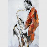 China Custom Oil Painting Modern Abstract Art Handmade Canvas Saxophone Room Decor on sale