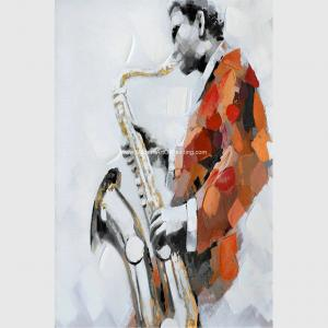 China Custom Oil Painting Modern Abstract Art Handmade Canvas Saxophone Room Decor on sale