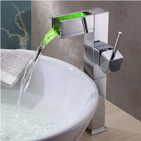 China Color Changing LED Waterfall Bathroom Sink Faucet Tall TQ0615HF on sale