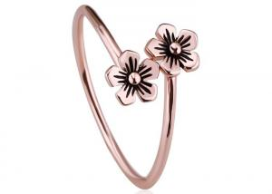 China Simple Design Sterling Silver Rings , Silver Adjustable Rings With Plumeria Flower Free Size on sale