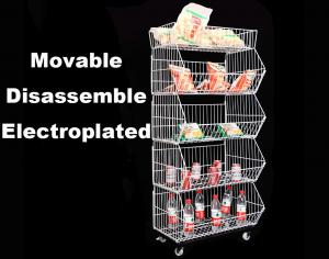 China Movable Wire Mesh Stacking Baskets With Adjustable Layer L1200 *D670 *H1800mm on sale
