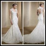 Vintage Romantic Lace Wedding Gowns , Mermaid Dresses Open Back Bridal Gowns