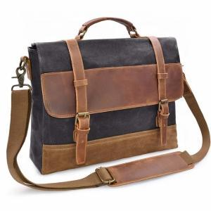 China Mens Black Waxed Canvas Messenger Bag Bulk Laptop Travel For School on sale