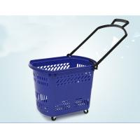 China Durable Rolling Plastic Shopping Basket With Wheels OEM / ODM Available on sale