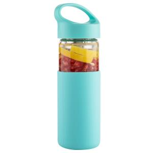 China Tasteless Glass Fruit Infuser Water Bottle BPA Free With Protective Silicone Sleeve on sale