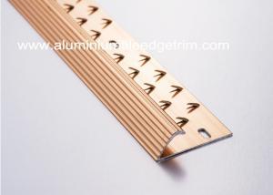 China Anti Slip Single Edge Aluminium Carpet Trim Transition Strip Anodized Red Copper Color on sale
