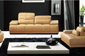 China LBZ-0836C# Fashion Yellow Leather Sectional Sofa Living Room Leather Sofas on sale