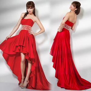 Quality Red Satin Short Front Long Back Wedding Dress Open Strapless Gowns For