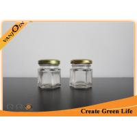 China 1.5oz Hexagon Glass Food Storage Containers With Gold Metal Lid , Sealable Glass Jar on sale