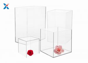 China Square Acrylic Packaging Box 4 / 12 Inch 5 Sided Clear Acrylic Gift Boxes on sale