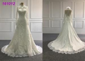 China Vintage High Neck A Line Ball Gown Wedding Dress With Long Sleeves Zipper Back on sale