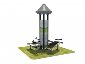 China Smalll Black Outdoor Park Gym Equipment With Triple Abdominal Muscle Board on sale