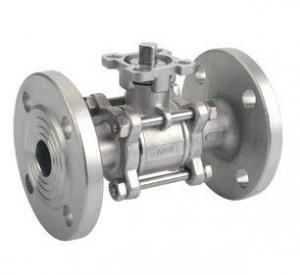 China SCS13 / SCS14 JIS 10K 3PC SS Flanged Ball Valve With ISO5211 Mounting Pad on sale