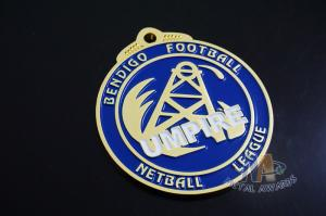 Quality Sports Racing Metal Award Medals Imitation Gold Plting With Blue Soft Enamel for sale