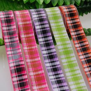 China Grid Plaid Grosgrain Ribbon By The Yard , Twist Grosgrain Ribbon Bows on sale