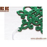China Personalized Christmas Snowflake / Green Glitter Snowflake, Wooden Snowflake Ornament, Christmas Decorations on sale