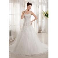Vogue 2013 Applique Organza A Line Wedding Dress Strapless Sweetheart Bridal Gown