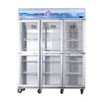 High Efficiency Commercial 6 Glass Door Refrigerator Fan Cooling Dual Compressor