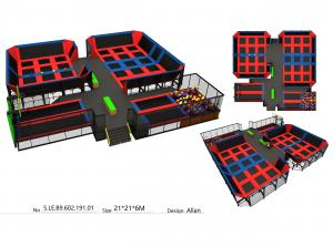 China 440M2 Red & Blue Color Style Amusement Bungee Park Equipment/ Big Trampoline Park In India on sale
