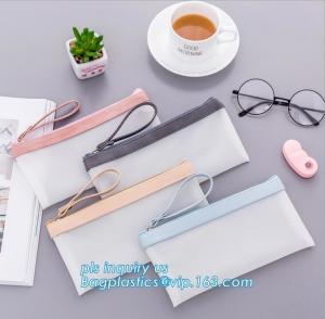 China clear vinyl TPU pencil case bag with zipper for boys girls, Creative contracted envelope bag translucent frosted pencil on sale