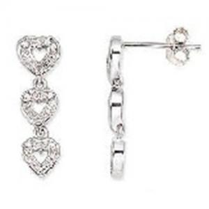 China 14K White Gold Diamond Triple Heart Earrings on sale