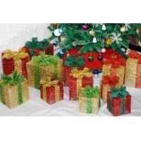 Christmas decorations, wrought iron box, bowknot Christmas gift box window set decoration supplies