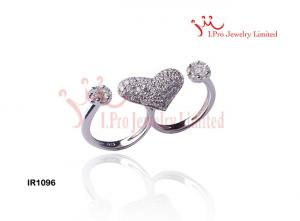 China Sparkling Double Heart Married Couple Rings in 925 Silver cz Engagement Rings on sale