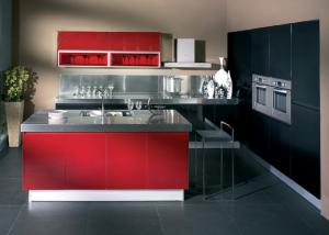 China Wine Red Gloss Home Modern Kitchen Cabinets , Stand Alone Kitchen Cabinets on sale