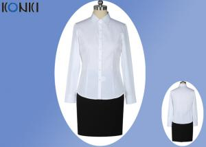 China Office Uniform Shirts For Women , Perfect Long Sleeve White Shirt With Collar on sale