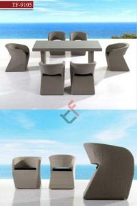 China Tf-9105 Luxury Garden Rattan Furniture Dining Set on sale