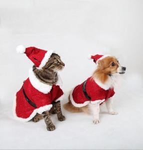 China Red Christmas Dog Clothes Hoodies Winter Pet Santa Costumes Fabulous on sale