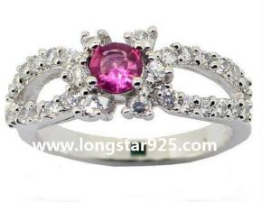 China single stone rings, center stones jewelry in 925 silver, engagement rings on sale