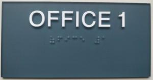 China 3X 6 ADA Room Signage 1/8 Acrylic Panel , SW 6229 Office Room Number Signs White Raised Text on sale