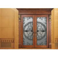Glass Lowes Wrought Iron Entry Doors And Glass Agon Filled 22*64 inch Size Durable