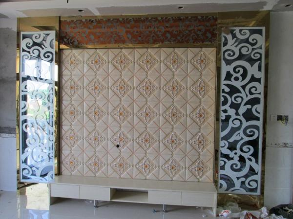 TV and Sofa Sofa Background Wall Panel/Synthetic Quartz TV ...