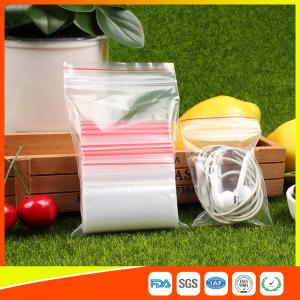 Quality Polythene Clear Ziplock Bags Self Press Bags Grip Seal Bag With Red Lines for sale