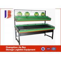 China Galvanized 2 Layer Gondola Display Vegetable Fruit Rack High Capacity Shelving on sale