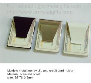 China Functional steel money clips and credit card holder, 55*78*0.5mm, in stock, on sale