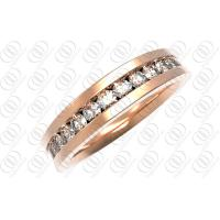 Rose Gold CZ Stainless Steel Rings Jewelry , Gold  Diamond Wedding Ring for Her