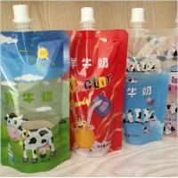 China Cartoon Printing Fresh Milk Liquid Spout Bags 2 Layers Material on sale