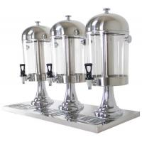 3-Head Beverage Dispenser 3 x 8.0Ltr Polycarbonate Container Stainless Steel Domed Lid Drip Free Spout